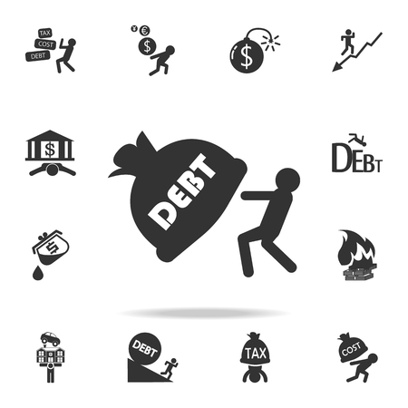 Man dragging debt burden icon. Detailed set of finance, banking and profit element icons. Vettoriali
