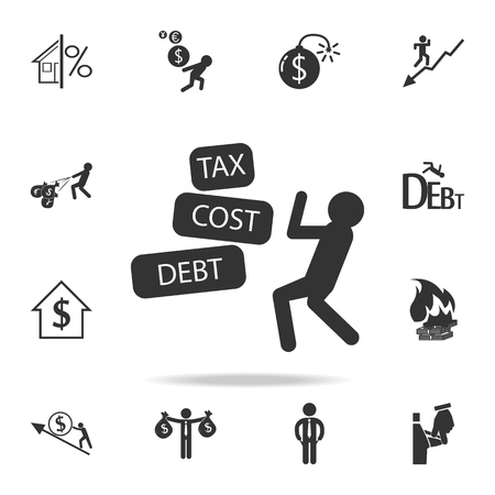 Businessman fights tax cost debt icon. Detailed set of finance, banking and profit element icons.