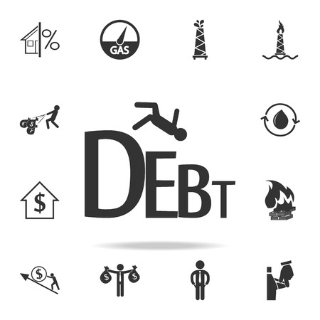 Business failure from heavy debt icon. Detailed set of finance, banking and profit element icons.