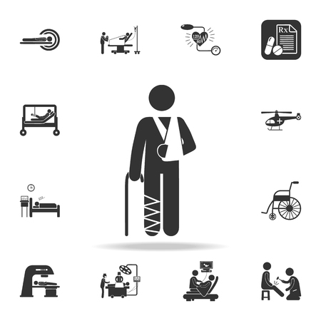 gypsum on the arm and leg illustration icon. Detailed set of medicine element Illustration. Premium quality graphic design. One of the collection icons for websites, web design on white background