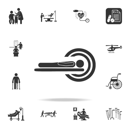 A patient in CT Scan Icon. Detailed set of medicine element Illustration. Premium quality graphic design. One of the collection icons for websites, web design, mobile app on white background Illustration