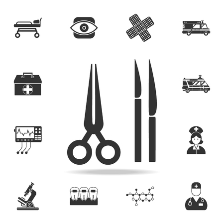 Surgical and scalpels scissors icon. Detailed set of medicine element illustration. Premium quality graphic design. One of the collection icons for websites, web design, mobile app on white background. Illustration