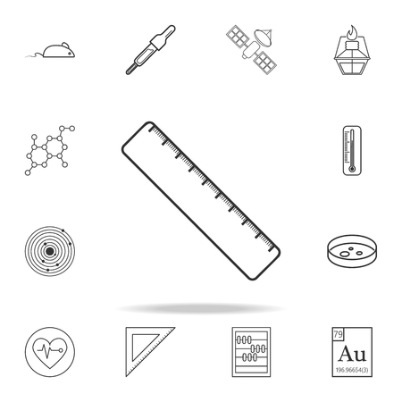 Ruler icon with detailed set of science and learning outline icons.