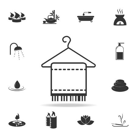 Towel hanged icon. Detailed set of SPA icons. Premium quality graphic design. One of the collection icons for websites, web design, mobile app on white background Vectores