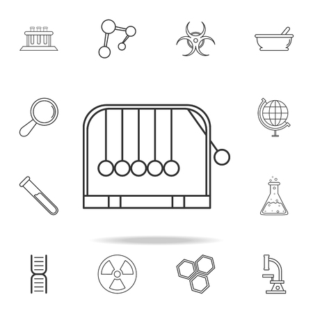 Hanging balls icon. Detailed set of science and learning outline icons. Premium quality graphic design. One of the collection icons for websites, web design, mobile app on white background 向量圖像