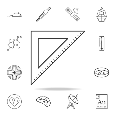 Triangular ruler icon. Detailed set of science and learning outline icons. Premium quality graphic design. One of the collection icons for websites, web design, mobile app on white background Illustration