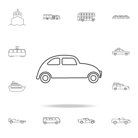 Car icon. Small urban city vehicle icon. Detailed set of transport outline icons. Premium quality graphic design icon. One of the collection icons for websites, web design on white background