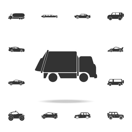 Garbage truck icon. Detailed set of transport icons. Premium quality graphic design. One of the collection icons for websites, web design, mobile app on white background Illusztráció