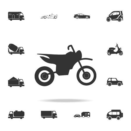 Motorfiets pictogram vector geïsoleerd. Gedetailleerde set van transportpictogrammen. Hoogwaardig grafisch ontwerp. Een van de collectie iconen voor websites, webdesign, mobiele app op witte achtergrond