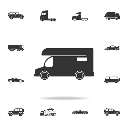 Wohnwagen-Symbol. Wohnmobil-Symbol. Ausführlicher Satz Transportikonen. Hochwertiges Grafikdesign.