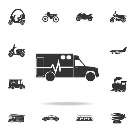 Ambulance icon. Detailed set of transport icons. Premium quality graphic design. One of the collection icons for websites, web design, mobile app on white background Vectores