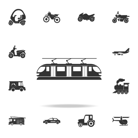 Tram icon. A detailed set of transport icons on white background