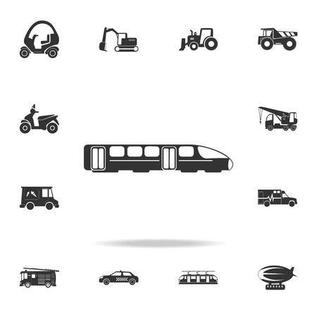 Electric train icon with detailed set of transport icons.  イラスト・ベクター素材