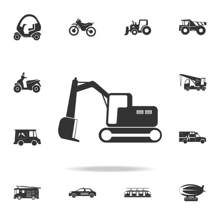 Crawler excavator icon with detailed set of transport icons.