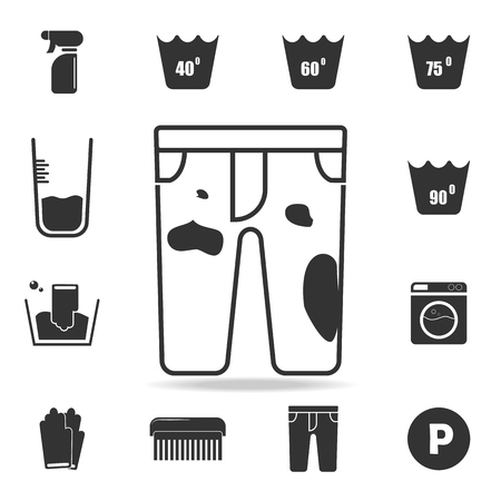 Dirty pants icon. Detailed set of laundry icons. Premium quality graphic design. One of the collection icons for websites, web design, mobile app on white background Vektorové ilustrace