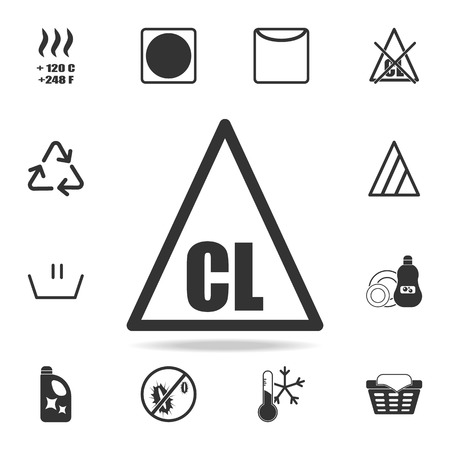 Only chlorinated bleaches are allowed icon. Detailed set of laundry icons. Premium quality graphic design. One of the collection icons for websites, web design, mobile app on white background 免版税图像 - 97227583