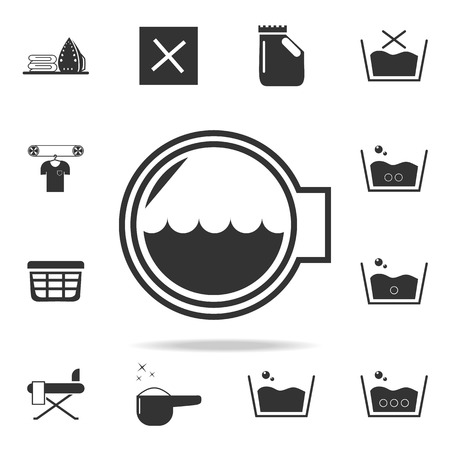 Washing machine drum icon. Detailed set of laundry icons. Stock Illustratie
