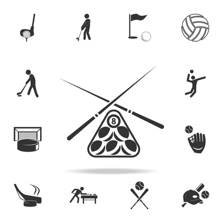 Billiard pool game equipment icon. Detailed set of athletes and accessories icons on white background Illustration