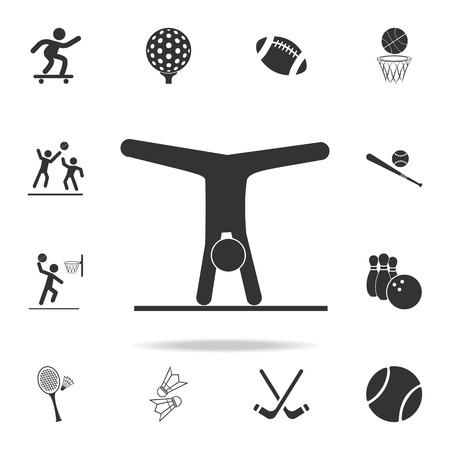 Gymnastics Rhythmic sport icon. Detailed set of athletes and accessories icons on white background