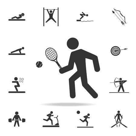 Tennis player icon. A detailed set of athletes and accessories icons on white background