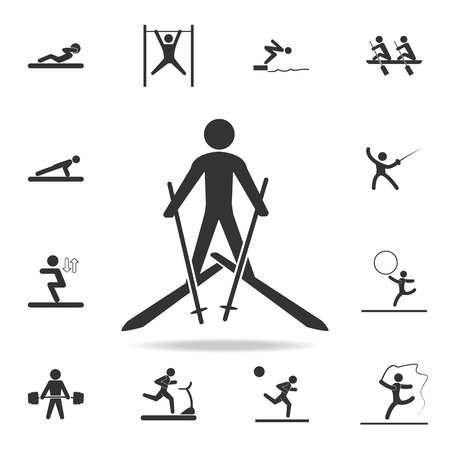 Skiing icon. A detailed set of athletes and accessories icons on white background Illustration