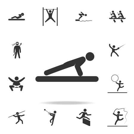 Push-ups icon. A detailed set of athletes and accessories icons on white background