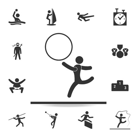 Gymnastics with a hoop icon. A detailed set of athletes and accessories icons on white background