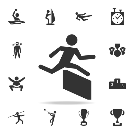 Runner over barrier icon. Detailed set of athletes and accessories icons. Premium quality graphic design.