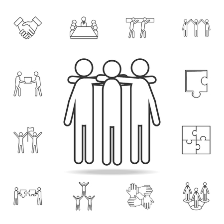 Friends, hands on shoulders icon. Detailed set of team work outline icons. Premium quality graphic design icon. One of the collection icons for websites, web design, mobile app on white background
