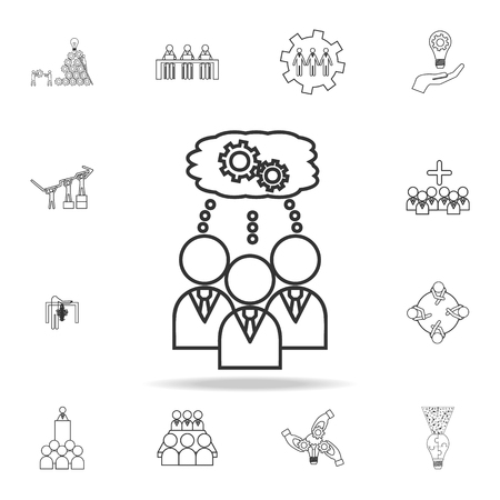 The team is thinking the same icon. Detailed set of team work outline icons. Premium quality graphic design icon. One of the collection icons for websites, web design, mobile app on white background
