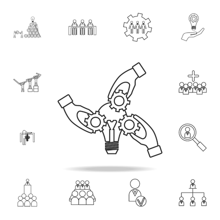 collect by hand Light lamp bulb cogwheel gear. Idea icon. Detailed set of team work outline icons. Premium quality graphic design icon. One of the collection icons for websites, web design, mobile app on white background Ilustracja