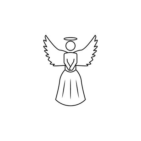 angel icon. Element of angel and demon icon for mobile concept and web apps. Thin line  icon for website design and development, app development. Premium icon on white background Çizim