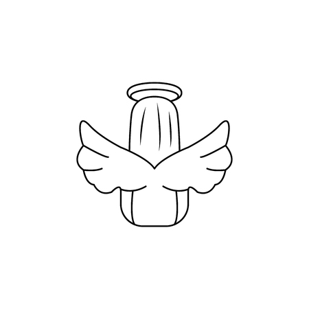 angel from the back icon. Element of angel and demon icon for mobile concept and web apps. Thin line  icon for website design and development, app development. Premium icon on white background Illustration