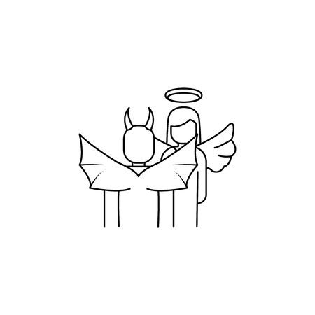 Angel and demon icon. Element of angel and demon icon for mobile concept and web apps. Thin line  icon for website design and development, app development. Premium icon on white background Illustration