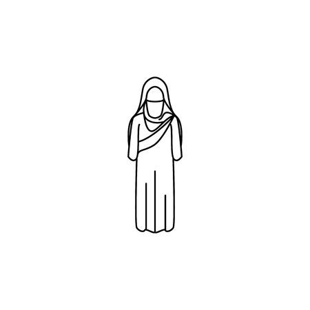 woman arabic icon. Element of Arab culture icon for mobile concept and web apps. Thin line  icon for website design and development, app development. Premium icon on white background Vettoriali