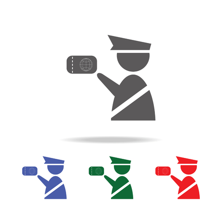 Customs officer icon. Immigration officer with passport. Elements of airport multi colored icons. Premium quality graphic design icon. Simple icon for websites, web design, mobile on white background Stock Illustratie