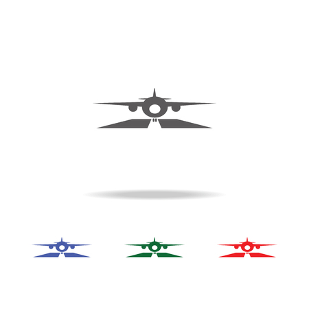 Airplane on Runway Icon. Elements of airport multi colored icons. Premium quality graphic design icon. Simple icon for websites, web design, mobile app, info graphics on white background