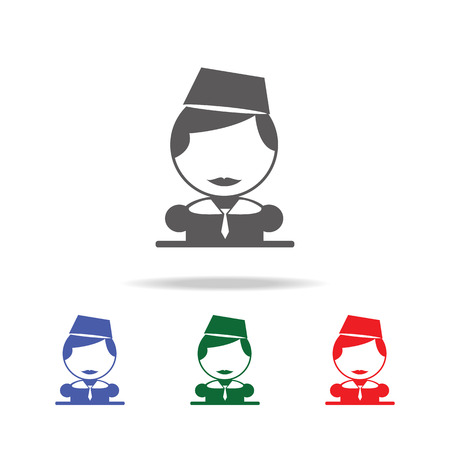 Stewardess icon. Elements of airport multi colored icons. Premium quality graphic design icon. Simple icon for websites, web design, mobile app, info graphics on white background Illustration