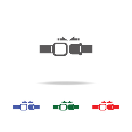 Set of colorful seat belt icons on a white background