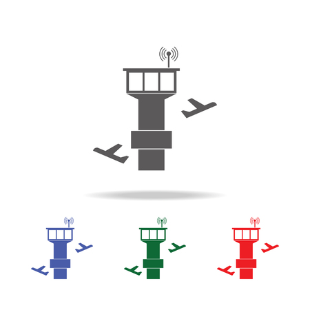 tower controller and plane icon. Elements of airport multi colored icons. Premium quality graphic design icon. Simple icon for websites, web design, mobile app, info graphics on white background Illustration