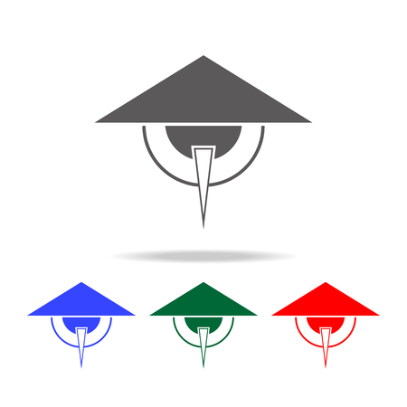 Elements of Chinese culture multi colored icons.