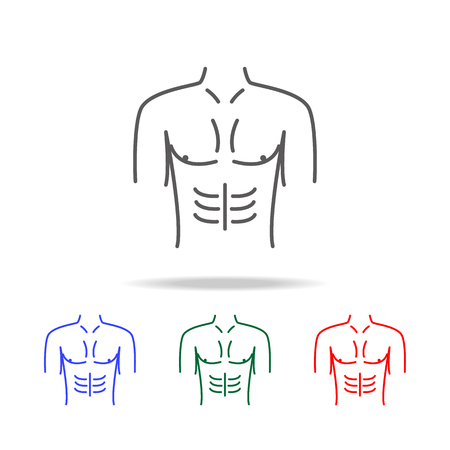 male breasts  icon. Elements of human body part multi colored icons. Premium quality graphic design icon. Simple icon for websites, web design, mobile app, info graphics on white background 일러스트