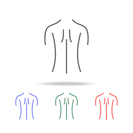 Female back shoulder icon, elements of human body part multi colored icons. Premium quality graphic design icon. Simple icon for websites, web design, mobile app, info graphics on white background.