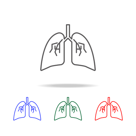Lungs icon, Elements of human body part multi colored icons.
