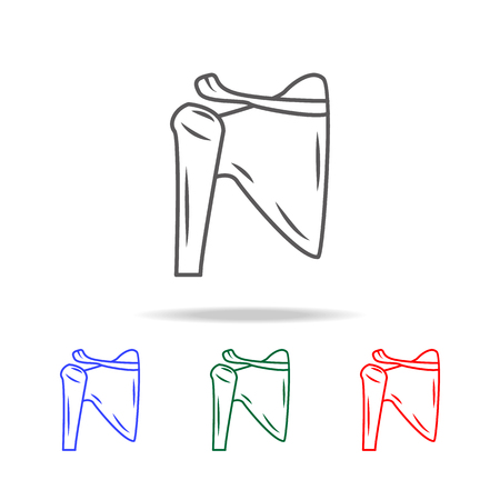 Shoulder joint isolated icon. Elements of human body part multi colored icons. Premium quality graphic design icon. Simple icon for websites, web design, mobile app, info graphics on white background. Stock Illustratie