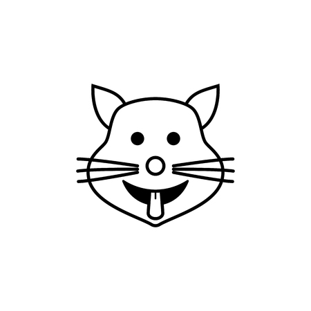 cat shows the tongue icon. Detailed set of avatars of professions icons. Premium quality line graphic design. One of the collection icons for websites, web design, mobile app on white background