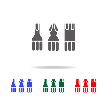 Screwdriver bit set icon. Multi-colored construction tools.