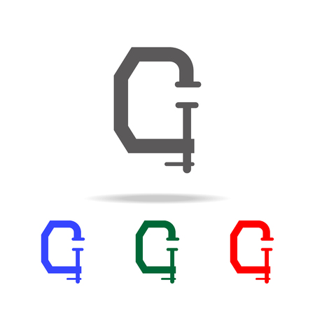 A press icon in black, blue, green, and red colors isolated in white. Иллюстрация