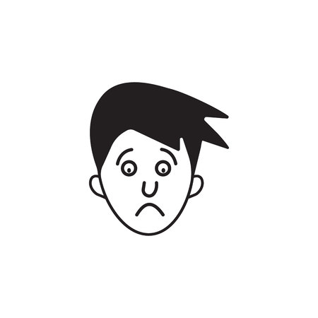 Man's face with sad expression.