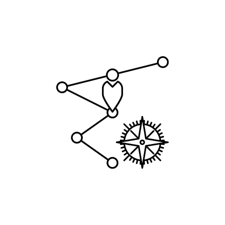 A black and white illustration of a way points and a compass.